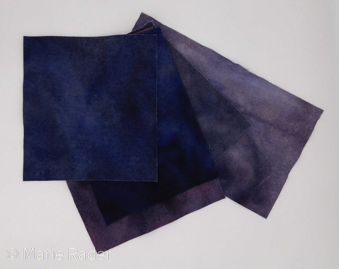Hand Dyed Felted Wool Fabric with Varied Hues of Blue and Grey for Quilting, Rug Hooking and Crafting,