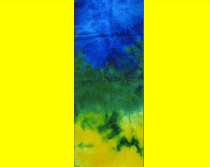 Hand Dyed Painted Ombre Flannel Wool Blue Yellow Rug Hooking Quilting Applique