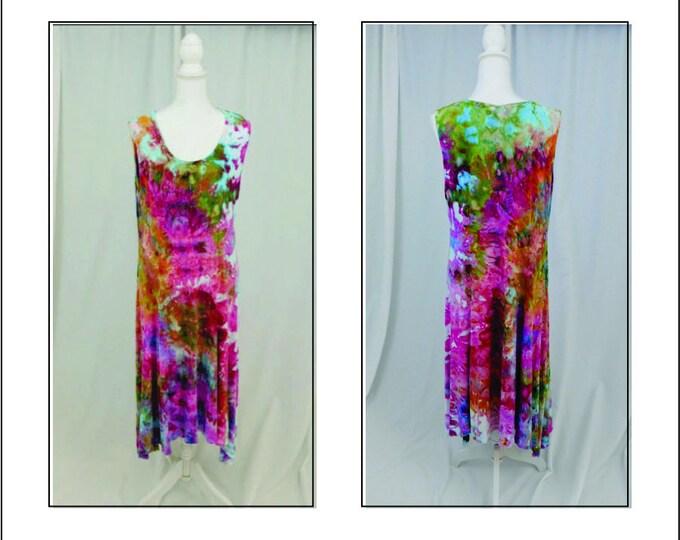 Womans Hand Dyed Rainbow Color Sundress size XL, Pink Sleeveless Knit Shift Dress, Sleeveless Gatsby Dress, Tie Dye Boho Dress and Jacket