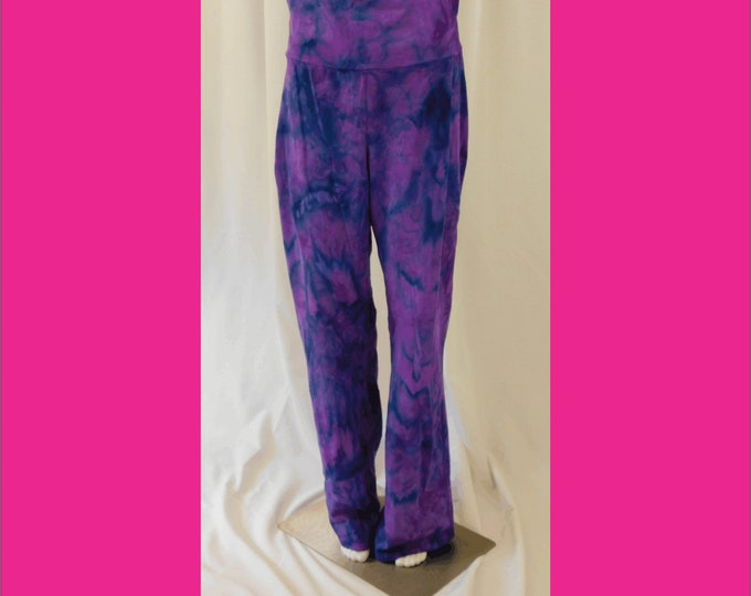 Hand Ice Dyed Yoga Pants Purple Black Womens L Active Wear