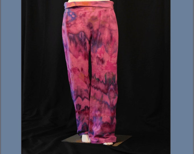 Womans Size XL Yoga Pants, Hand Dyed Pink  Active Pants, All Cotton Exercise Pants , Ice Dye Exercise Pants, Hippie Pants