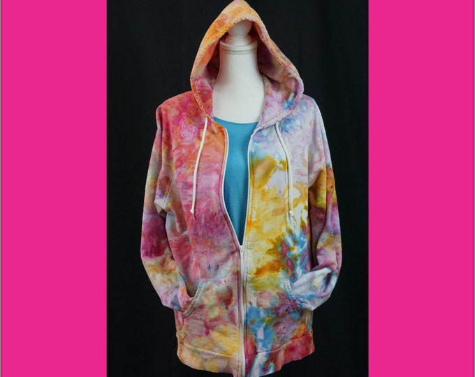 Hand Ice Dyed Unisex XL Zip Hoodie Sweatshirt  Boho Sweatshirt Pink Purple Yellow Yoga Hoodie