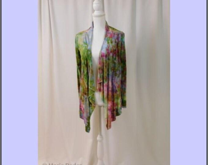 Hand Ice Dyed Cardigan Long Sleeve Small Drape Jacket Boho Spring Green Pink Blue