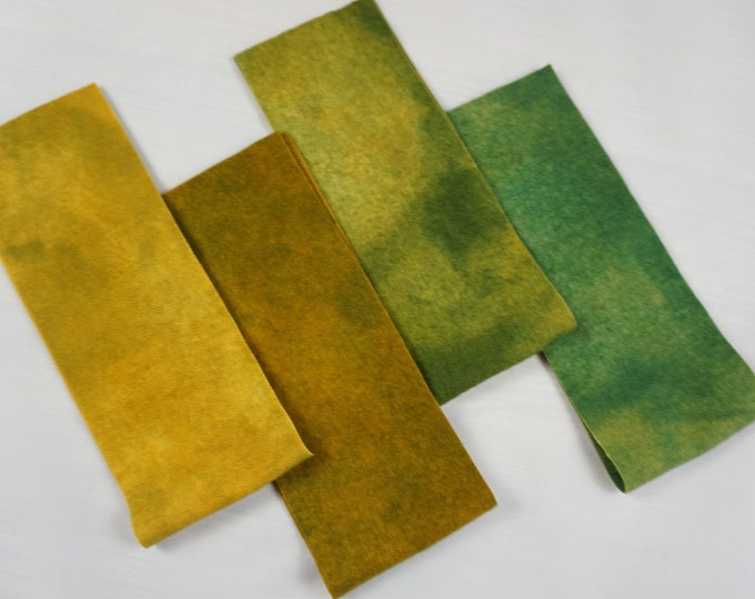 Hand Dyed Felted Wool Green Yellow Fall Shade Rug Making Quilting