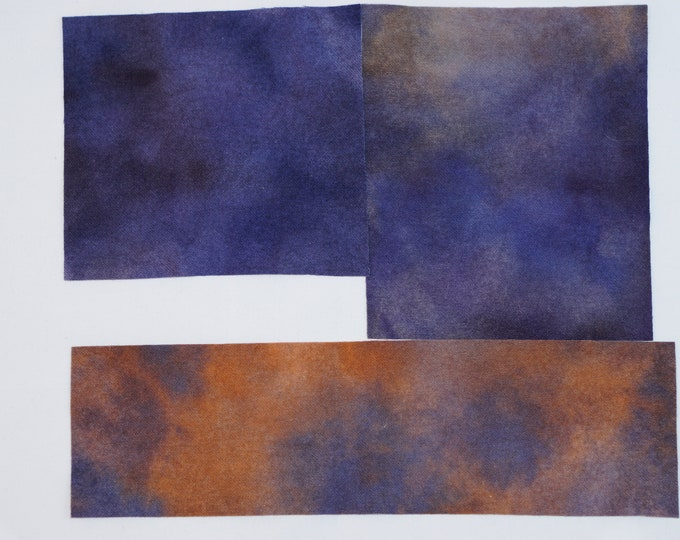 Hand Dyed  Felted Wool for Quilting, Rug Hooking, Crafting, Doll Making, Dark Blue, Bright Burnt Orange to Rust, Soft Neutrals