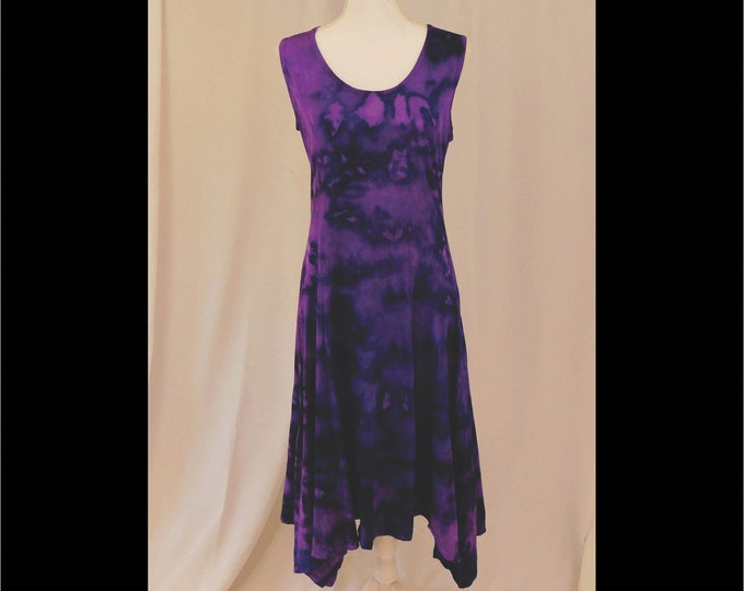 Hand Dyed Purple Sundress With Handkerchief Hem Size L, 1920 Tie Dye Shift Dress In Cotton Knit,  Sleeveless Hippie Dress,  Boho Chic Dress