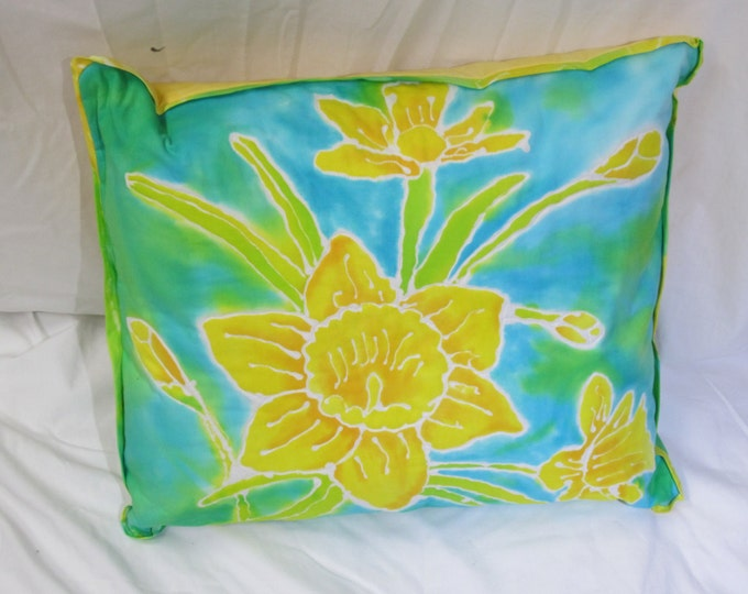 Spring Pillow - Dafodill  Pillow - Hand Painted Pillow - Art Pillow - Hand dyed pillow - Quilted Pillow - Batik Pillow - Decorative Pillow