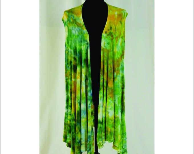 Hand Ice Dyed Sleeveless  Cardigan  L Colorful Waterfall  Boho Design Beautiful Greens and Yellows
