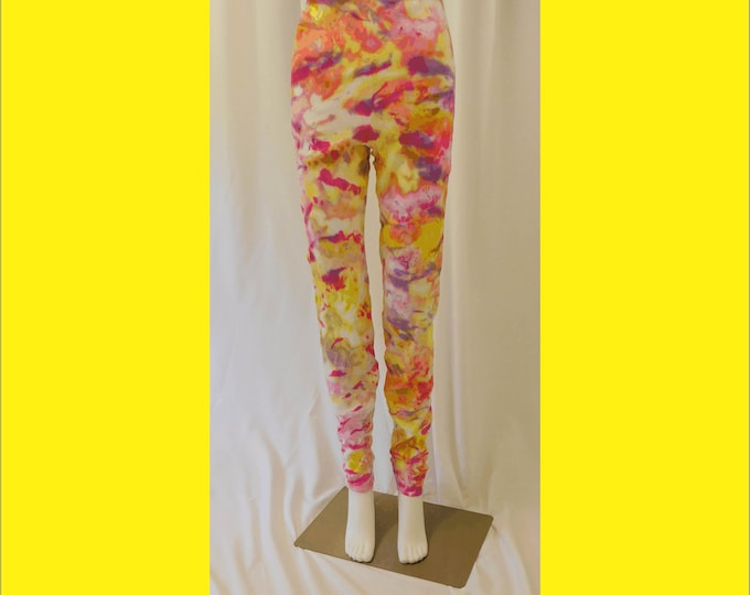 Multicolor Uni-Sex Leggings Size L, Hand Dyed Pink and Yellow All Cotton Yoga Leggings, Hippie Leggings, Tie Dye Leggings, Festival Leggings