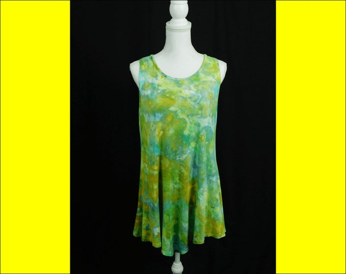 Womens Hand Dyed Tunic Sleeveless Summer Top Ladies Plus Size Asymmetric Hem Tie Dye Tank Top Boho Chic Top Blue Green Cool Top Ice Dye