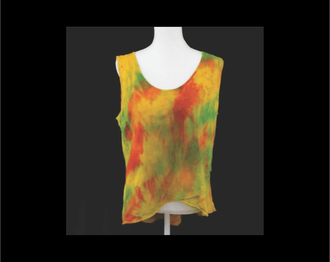 Hand Snow Dyed Painted Tulip Top Sleeveless Tiered Boho