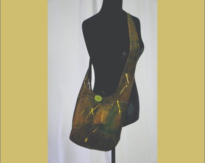 Hand Dyed Shibori Sling Bag Greens and Yellow Hippie Crossbody Shoulder Messenger