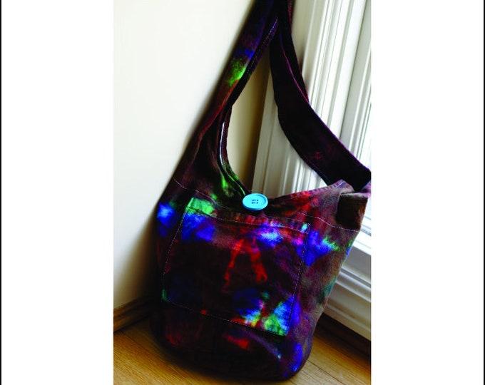 Hand Dyed Shibori Bag ,Hobo Sling Crossbody Boho Design