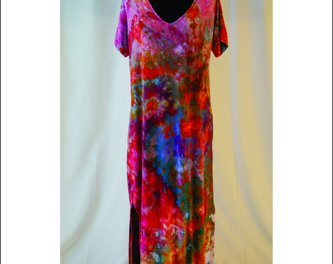 Hand Ice Dyed Women's Casual Loose Pocket Long Dress Short Sleeve Split Maxi, Beach Cover up