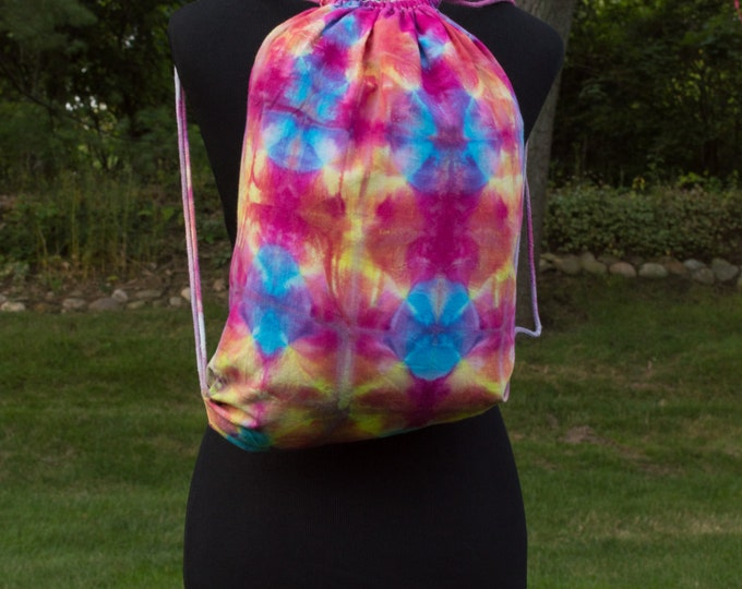 Shibori Drawstring Pink and Blue Backpack, Customizable Multicolor Backpack, Drawstring Backpack, School Bag, Overnight Bag, Gym Bag