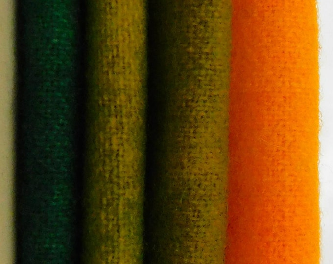 Hand Dyed Felted Wool Green Yellow Rug Making Quilting