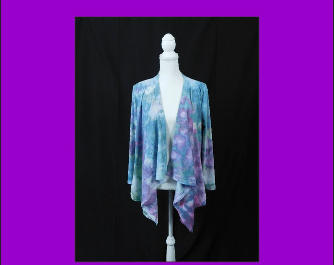 Hand Ice Dyed Cardigan Jacket Long Sleeve XL Pink Blue Pastel Plus Size Boho
