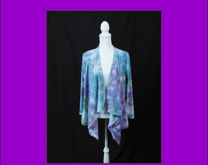 Hand Dyed Long Sleeve Cardigan Womans XXL or (US XL) , Womans Pink and Blue Pastel Jacket, Plus Size  Boho Jacket, Ladies Knit Cardigan