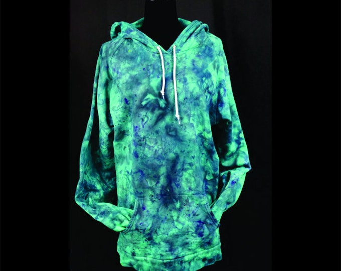 Ice Dyed Pullover Hoodie Teal Green Navy Black Unisex 3X