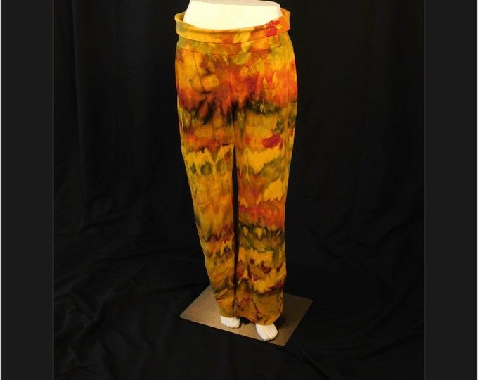 Plus Size Yoga Pants, Ice Dye Yoga Pants Size XL, Orange Active Pants for Fall, Tie Dye Yoga Pants for  Women, Fall Active wear