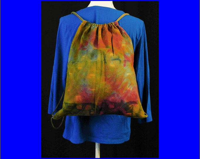 Hand Dyed Shibori Backpack Drawstring Multi-color Rainbow