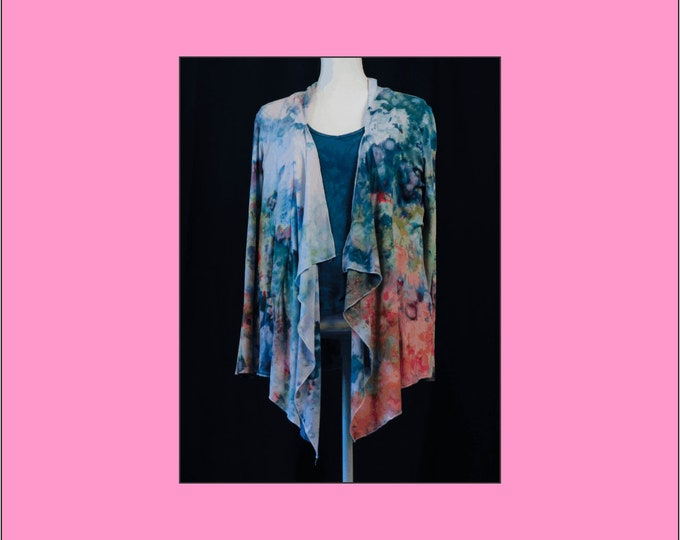 Hand Dyed Womens Waterfall Jacket, Waterfall Cardigan Size XL, Plus Size Boho Jacket, Ice Dye Bohemian Long sleeve Cardigan