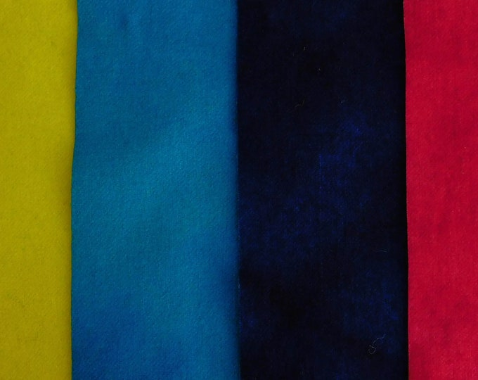 """Hand Dyed Yellow, Turquoise, Navy and Magenta Felted Wool Fabric, (4) Pieces 8""""x5"""" for Rug Hooking Quilting, Applique, Sewing, Penny Rugs"""