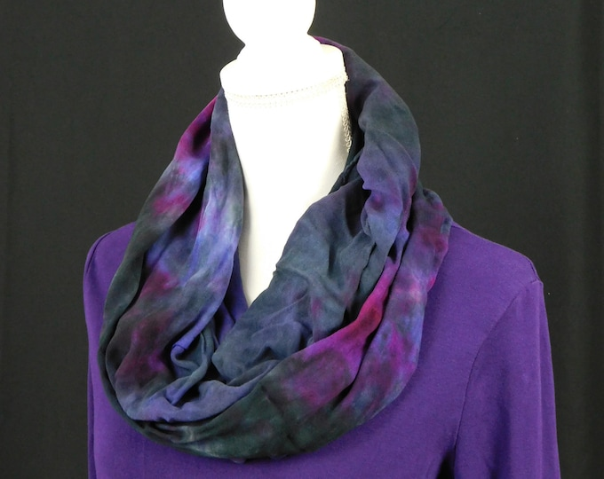 Womans Hand Dyed  Black and Purple Eternity Scarf, Soft Rayon Infinity Scarf, Ice Dye Circle Scarf, Womans Scarf