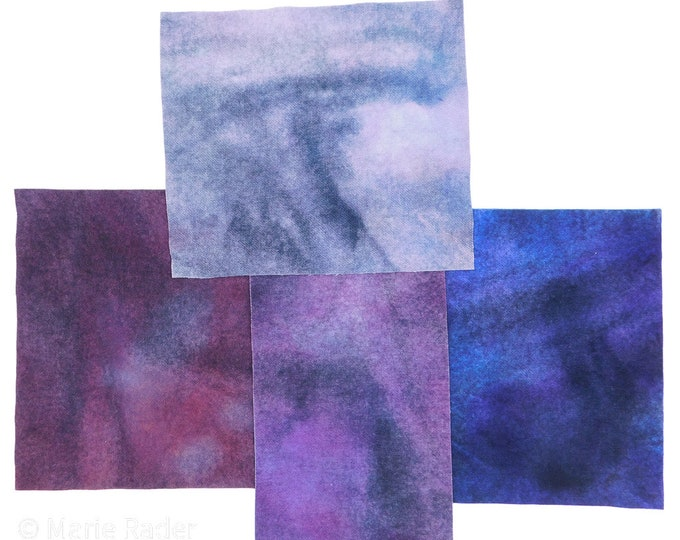 Hand Dyed Felted Wool Fabric with Colors  for Quilting and Rug Hooking and Crafting with Colors of Dark Blue, Violet, Grays and Black