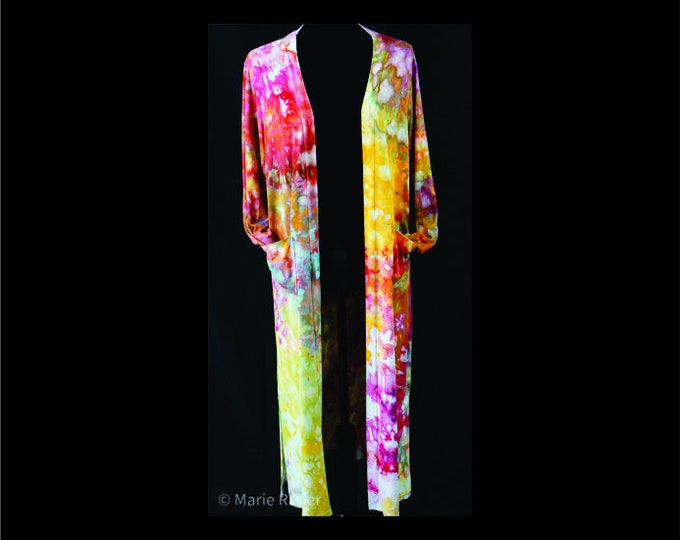 Ice Dyed Boho Cardigan Duster Maxi Red Rose Pink Green Yellow Beach Coverup