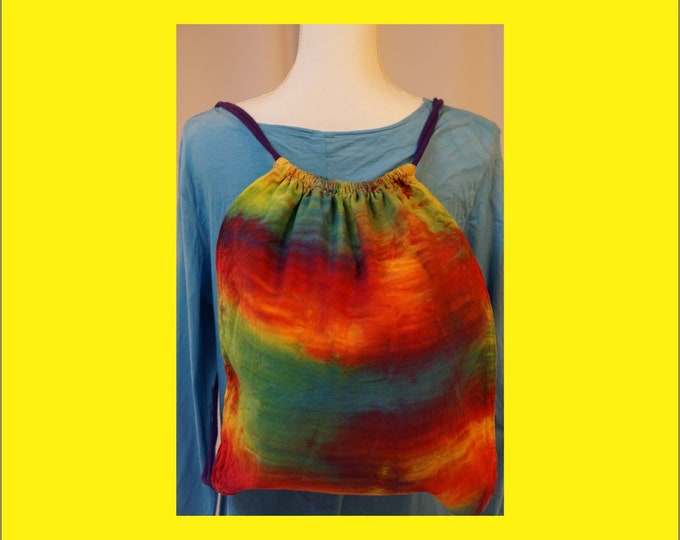 Hand Dyed Shibori Backpack Drawstring Rainbow Multicolored Boho Tie Dye Yoga Hippie LGBTQ