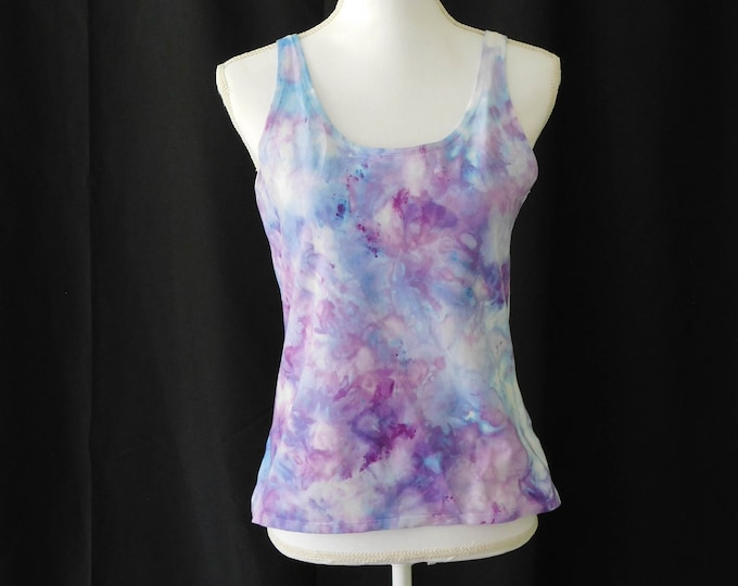 Ice Dye Womans Purple Yoga Top Size X ,  Blue Boho Tank Top, Purple Workout Tank Blue Fitness Tank Ladies Bohemian Summer Sleeveless