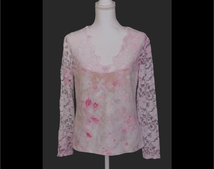 Hand Dyed Painted Pink Lace Top Bohemian L Boho Stretch Lace Long Sleeves