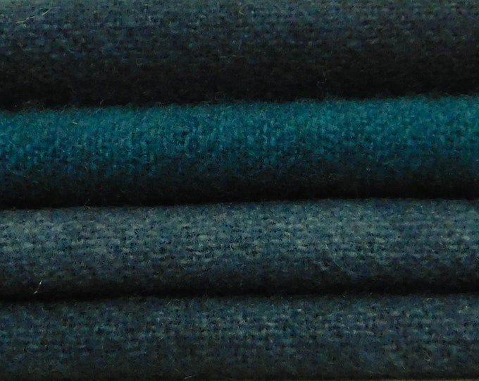 Hand Dyed Dark Blue, Green Blue, Teal, Wool Fabric, Four 1/16 ths. for Rug Hooking, Quilting and Applique.