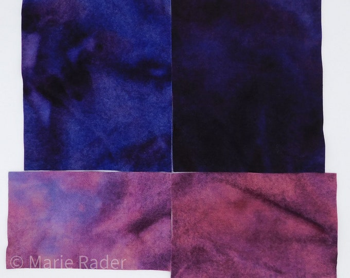 Hand Dyed Felted Wool Fabric with Beautiful Colors of Dark Blue, Dark Violet Blue, Dark Pink and Pink Violet for Quilting, Rug Hooking