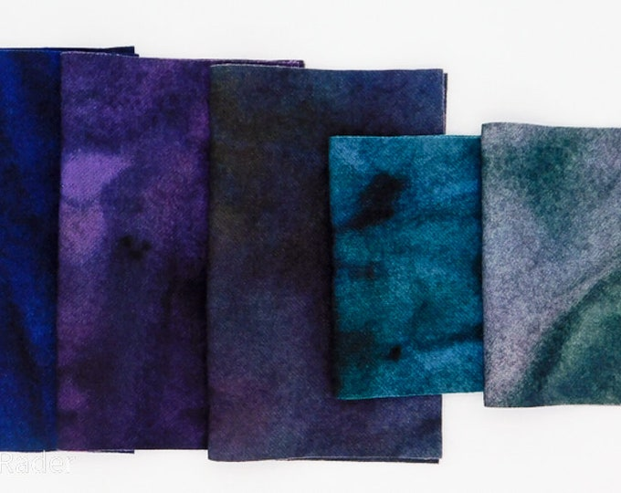 Hand Dyed Felted Wool Fabric with Pastel Colors  for Quilting, Soft Green, Blue, White, Rug Hooking, Crafting,