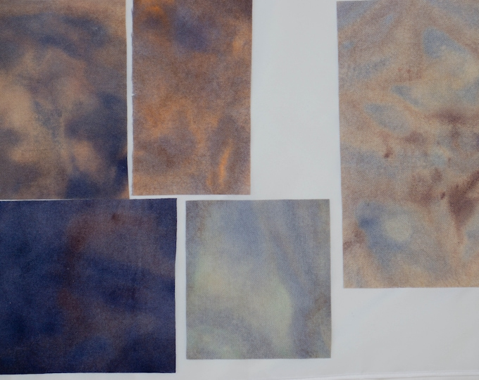 Hand Dyed Felted Wool Fabric for Quilting, Rug Hooking, Crafting, Doll Making, Dark Blue, Light Blue, Peach