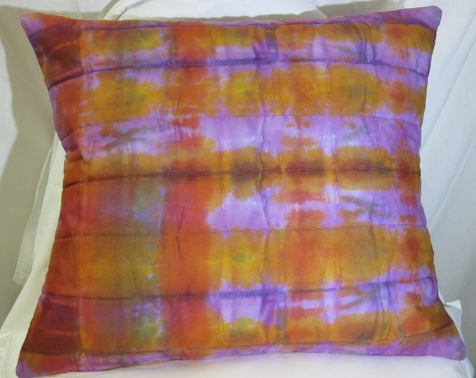 Hand Dyed Pillow Cover - Dyed Pillow Cover - Purple and Orange Pillow Cover - Orange Pillow Cover - Purple Pillow Cover - Throw Pillow Cover