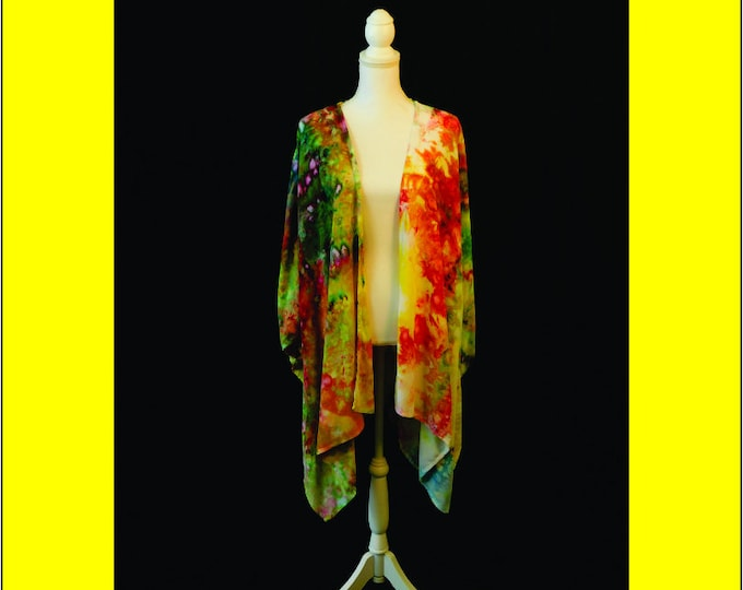 Hand Ice Dyed Beach Coverup Yellow Boho Plus Size