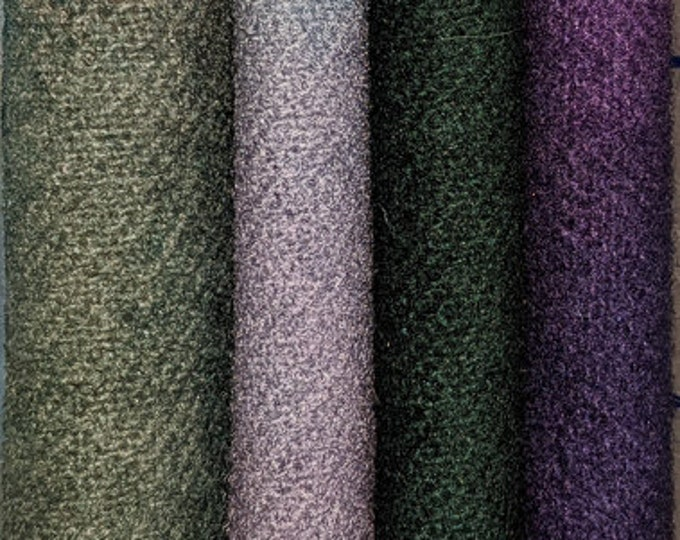 Hand Dyed Felted Wool Fabric with Dark Colors of Violet and Pine Green  Pastel Color  of Soft Green, Blue