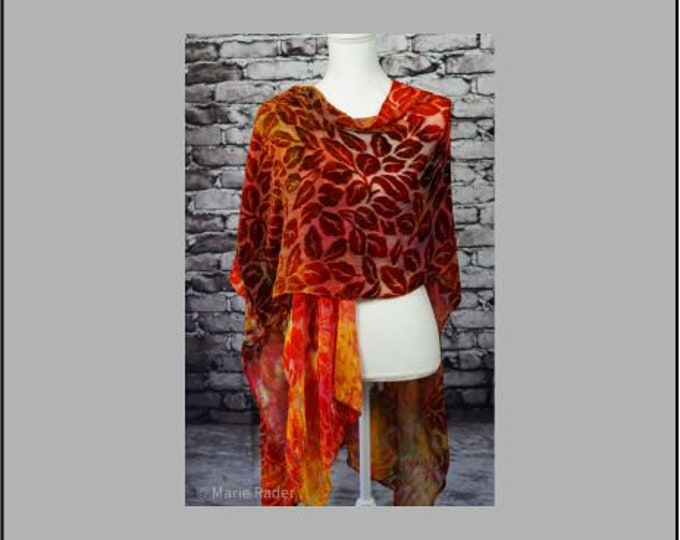 Hand Ice Dyed Silk Cut Velvet Scarf in Rich Flowing Colors of Maroon, Golden Yellow, Green, Orange and Brown