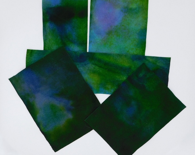 Hand Dyed Felted Wool Fabric with Kelly Green and Bright Blue Colors for Quilting, Rug Hooking andCrafting,
