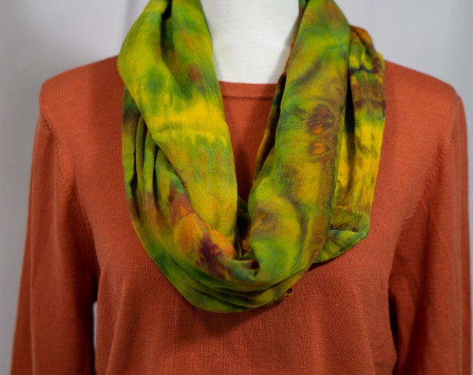 Hand Dye Overdye Eternity Scarf Green Yellow
