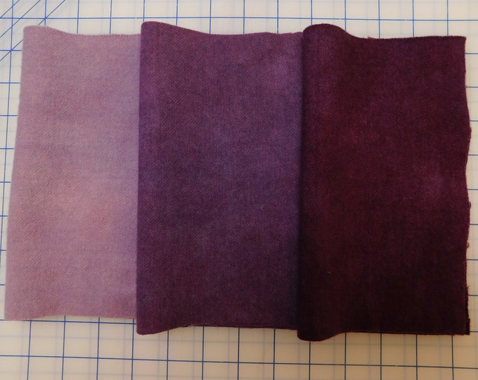 Hand Dyed Violet Wool Fabric, (3) 1/16ths (3) Shades of Violet Felted Wool Fabric , Quilting  Rug Hooking