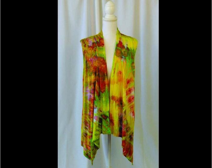 Hand Dyed Sleeveless Cardigan Adult XL Open  Front Yellow Boho Asymmetric Hem
