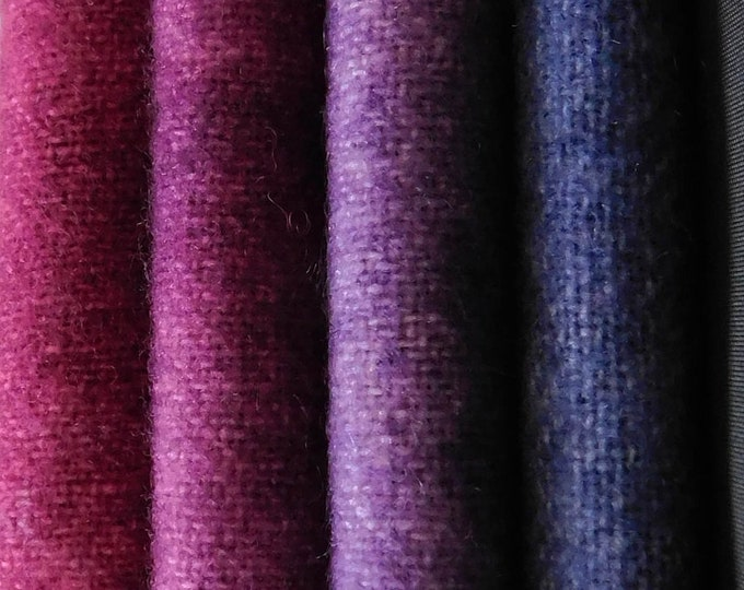 "Hand Dyed Felted Wool, Dark Violet Shades of Wool Fabric 9.5""x8"" for Applique, Rug Hooking Quilting and Other Sewing Projects"