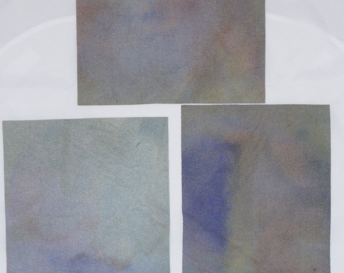 Hand Dyed Pastel Felted Wool for Quilting, Rug Hooking, Crafting, Doll Making, Soft Neutrals of Green, Blue and Gray