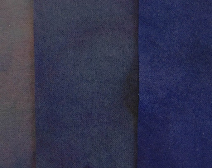 Hand Dyed Navy Wool Fabric, (3) 1/16 Pieces of Dark Navy to Medium Dark Gray Shades of  Felted Wool for Rug Hooking, Quilting and Applique