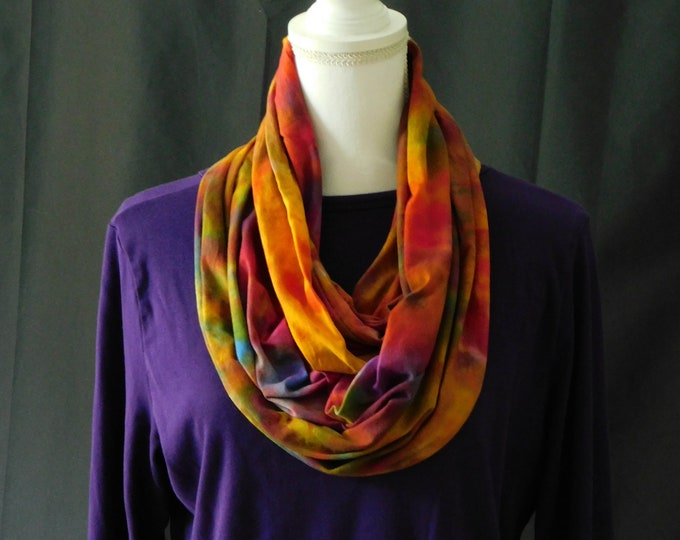 Hand Dyed Eternity Scarf, Infinity Rainbow Scarf, Multicolored Boho Scarf, Fuchsia Purple Yellow Infinity, Ladies Infinity Scarf