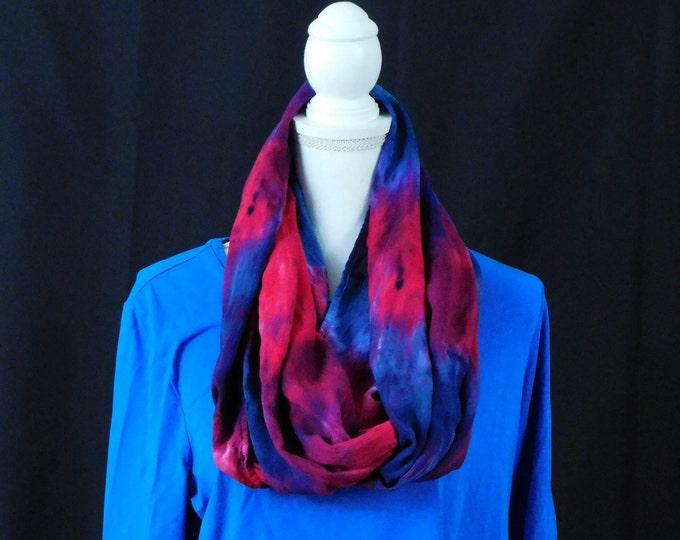 Hand Dyed Eternity Scarf Pink Teal Blue Eternity